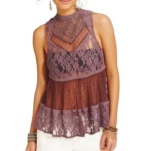 free People purple sheer lace sleeveless top